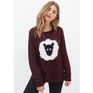 FOREVER 21 Fuzzy Maroon Sheep Sweater